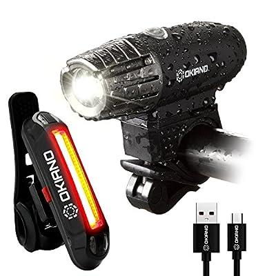 OKIANO Premium USB Rechargeable Bike Light Set- Top Waterproof Brightest 350 Lumens Bike Headlight +FREE LED High Brightness Bike TAIL LIGHT Easy Installation LED Bike Lights For Safe Cycling At Night