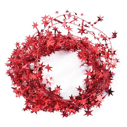 23 Feet Glittering Red-Star Shaped Tinsel Wire Garland Christmas Decoration Lyanther