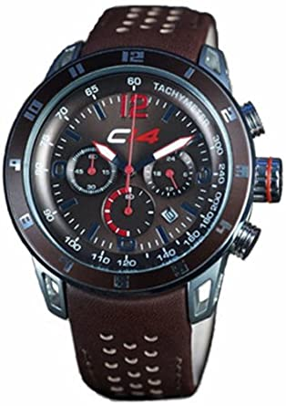 Carbon 14 Herren-Armbanduhr Earth 2.5 Chronograph Leder braun E2.5