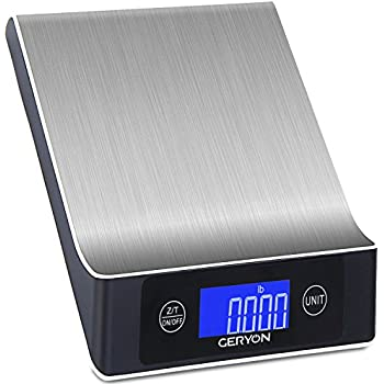 Food Scale Geryon Stainless Steel Multifunction Digital Scale, 11lb/5kg Anti Cover 2.2'' LCD Display (Batteries Included)