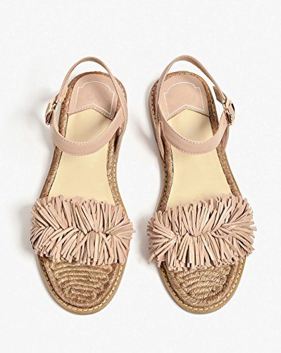 Flats Women for Honeystore Shoes Flats Beach Fringed Tassels Sandals apricot Leather Strap rOdndYqzxw