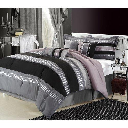 Chic Home Castle Rock 8-Piece Comforter Set, King, Grey