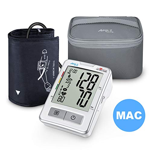 Blood Pressure Monitor Upper Arm with Carrying Case, APULZ Digital Automatic BP Machine Cuff 8.7-16.5 in, High Accuracy Twice Consecutive Measurements, 240 Memories for Two Users- Batteries Included