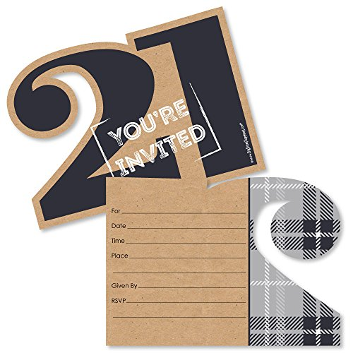Finally 21 - Shaped Fill-In Invitations - 21st Birthday Party Invitation Cards with Envelopes - Set of 12 by Big Dot of Happiness
