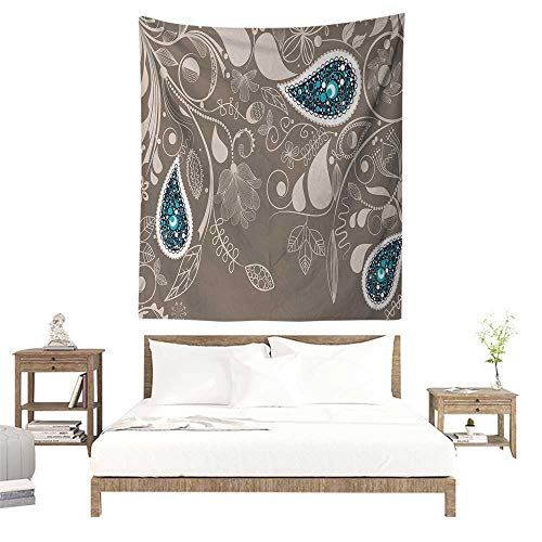 Needlepoint Paisley Brown (Paisley Tapestry Wall Hanging Oriental Motifs with Swirled Branch and Flower Pattern Ethnic Bohemian Art Tapestry for Home Decor 70W x 84L INCH Pale Brown Teal)