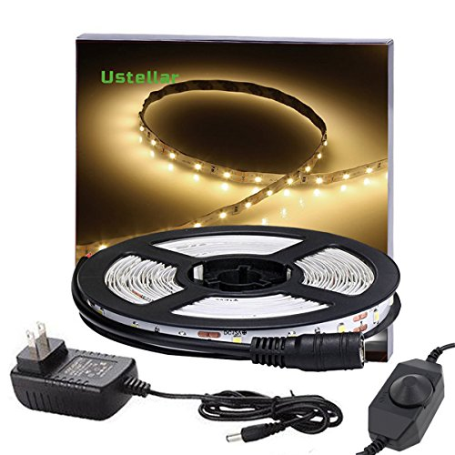 Ustellar Dimmable LED Light Strip Kit with UL Listed Power Supply, 300 Units SMD 2835 LEDs, 16.4ft/5m 12V LED Ribbon, Non-waterproof, 3000K Warm White Lighting Strips, LED Tape (Led Ribbon Waterproof)