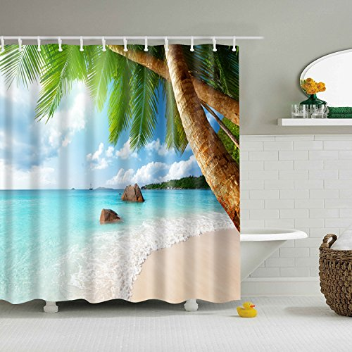 ABxinyoule Tropical Palm Tree Shower Curtain Beach Coconut Blue Sea Water Waterproof Fabric with Hook Bathroom Decor Accessory
