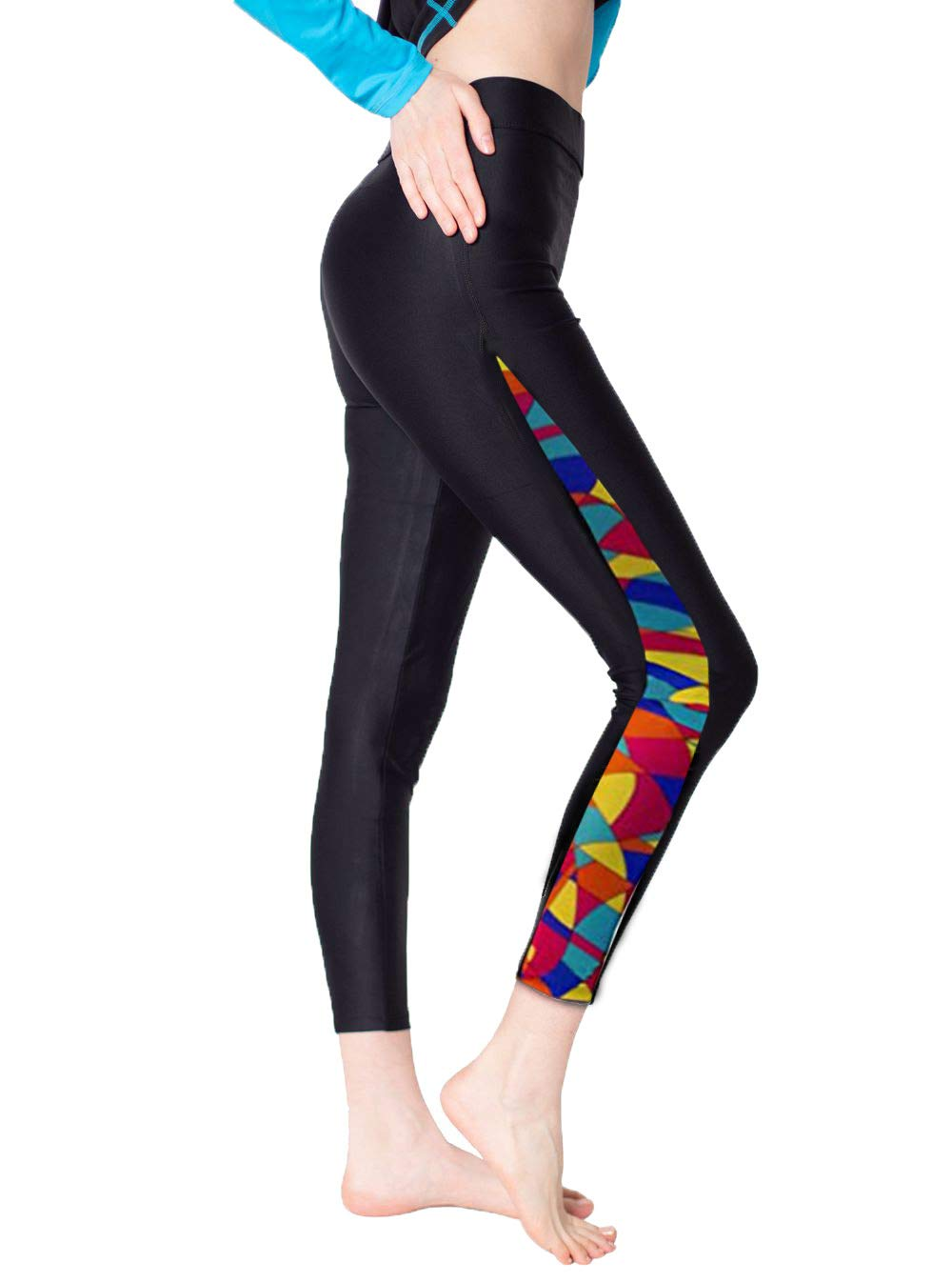 Surfing Leggings Women's Swim Tights Swimming Pants Floral-3 S by Scodi