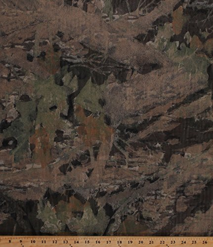 Camo Mosquito Tent Netting Net Woods Forest Leaves Camouflage Brown Mesh Fabric By the Yard (D179.11) Leaf Wood
