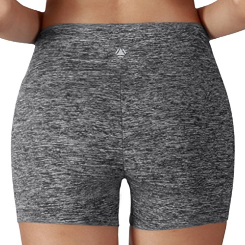 Yoga Reflex - Yoga Shorts for Women - Running Yoga Short Pants - Hidden Pocket , Charcoalheather , Medium
