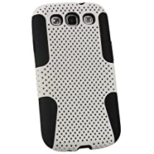 iGadgitz Black Silicone Skin Case Cover and White PC Mesh for Samsung Galaxy S3 III i9300 Android Smartphone Mobile Phone + Screen Protector