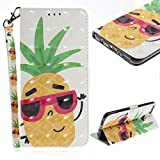 Cistor Wallet Case for Huawei P Smart,Stylish 3D Painting Strap Stand Flip Cover Shockproof PU Leather Protective Case with Card Slot Magnetic Closure for Huawei P Smart,Pineapple