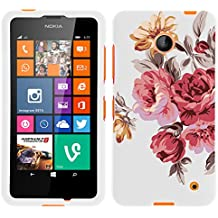 MINITURTLE, Slim Fit Graphic Design Image 2 Piece Snap On Protector Hard Phone Case Cover, Stylus Pen, and Clear Screen Protector Film for Prepaid Windows Smartphone Nokia Lumia 635 from /AT&T, /T Mobile, /MetroPCS (Autumn Flowers)