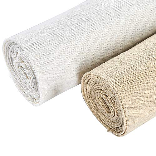 Caydo 2 Pieces 2 Colors Linen Needlework Fabric for Garment Craft, 62 by 19 Inch