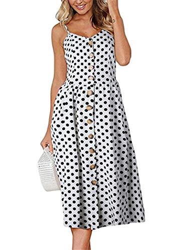 White Polka Dot Sandal - Summer Dresses for Women Polka Dot Spaghetti Strap Midi Button Down Swing Dress 3X-Large 020-white