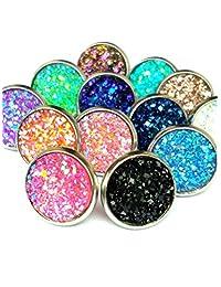 24pairs lot Druzy Drusy Stud Earrings 12 Colors Rock Crystal geometry Stone Earrings