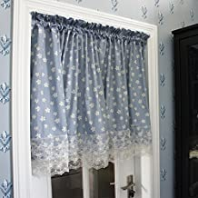 FADFAY Home Textile,Romantic Cherry Blossom Girls Bedroom Curtains,Elegant Lace Short Curtains,Shabby Vintage Floral Curtain Set