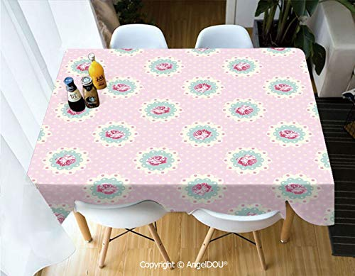 AngelDOU Decorative Rectangle Printed Table Cloth Retro Polka Dotted Backdrop and Floral Motifs Roses Cottage for Dinner Kitchen Waterproof Stain - Dinner Cottage Rose