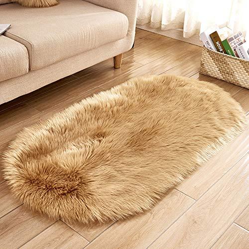 Faux Fur Throw Rug Oval Shape Artificial Sheepskin Anti-Skid Shaggy Area Rug Elegant Chic Cozy Floor Mat for Home Living Bedroom Sofa Floor Carpet 40 x 80 cm (H) -