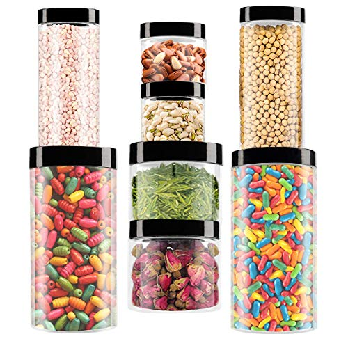 Makone 8 Pack Plastic Container Food Safe Stackable Transparent Storage Container for Slime Kitchen Dry Goods ((33.8+16.9+11.8+6.7) oz2)