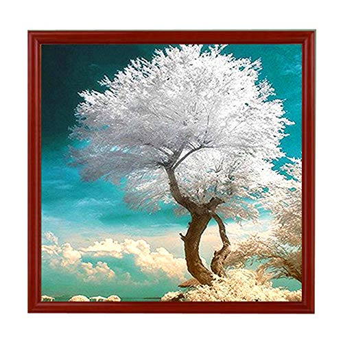 5D Diamond Painting Rhinestone Tree White Leaves Dream Embroidery Wallpaper DIY Wall Sticker Drawing Artwork for Kids Tools by Number Kits Decoration 30X30CM