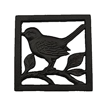 Cast Iron Trivet, Bestplus Potholders Tablemat with Rubber Legs Vintage Bird Shape for Kitchen or Dining Table Square TF005