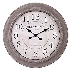 Patton Wall Decor 30 Inch Weathered Wood Embossed Clock Wall, Brown