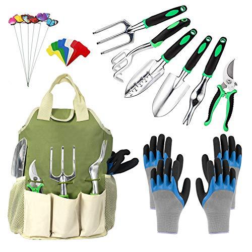 OKZEST 25 Piece Garden Tools Set, Gardening Tool Kit Heavy Duty Stainless Steel Hand Tool with Waterproof Garden Gloves…