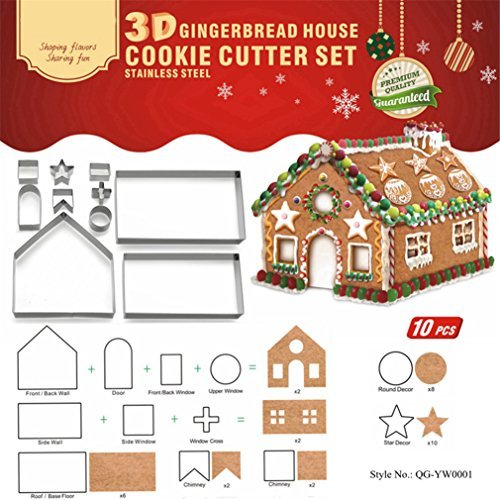 Meao 10 Pieces Christmas Cookie Cutters Set -