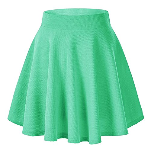 Moxeay Women's Basic A Line Pleated Circle Stretchy Flared Skater Skirt (Small, Green -
