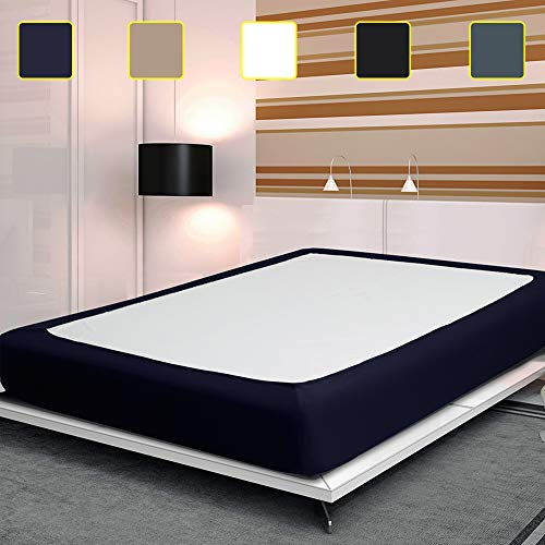 Twin Six Fashion Box Spring Cover with Plush Premium Elastic, Wrap Around Bed Skirt Frame Cover Mattress Protector Encasement, Navy Blue Queen Size