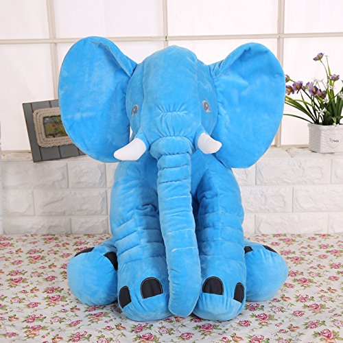 KiKi Monkey 24 inch Large Elephant Pillow Toys Baby Toddler Kids (blue)