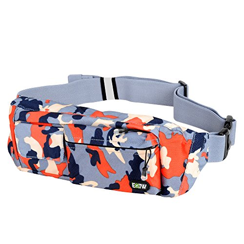 EOTW Fanny Pack Waist Bag Travel Pocket Chest Shoulder Bag Running Belt with Separate Pockets, Adjustable Band for Workout Vacation Hiking for iPhone X XR 6 6S Plus, Galaxy S10 S8 (Camouflage Red) ()