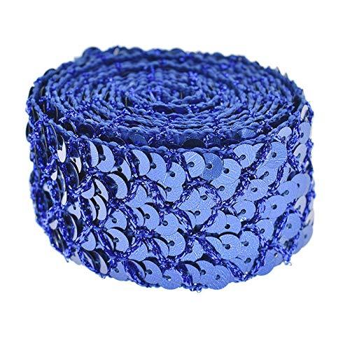2 Yards Fish Scales Sequins Trim Mesh Ribbon Wedding Dress Applique DIY Craft (Color - Sapphire Blue)