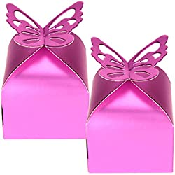 50 xButterfly Favor Gift Candy Boxes Cake Style Wedding Party Baby Shower Purple