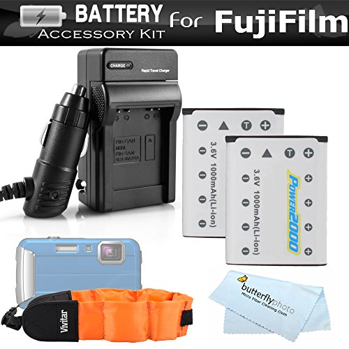 (2 Pack Battery And Charger Kit For Fujifilm FinePix XP70 XP80, XP90, XP120 Waterproof Digital Camera Includes 2 Replacement (1000Mah) Fuji NP-45A, NP-45s Batteries + Ac/Dc Charger + Float Strap)