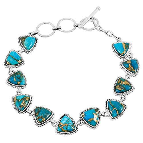 (Turquoise Bracelet Sterling Silver 925 Genuine Turquoise Gemstones Link Bracelet (Teal/Matrix Turquoise))