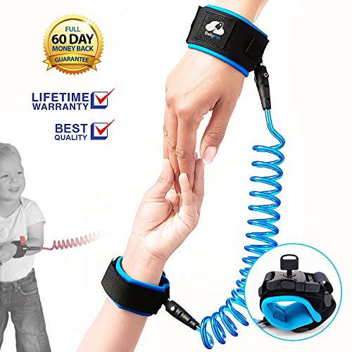 Anti Lost Wrist Link Wrist Band With Lock Toddler Safety Harness Child Baby Kid Strap Leash, Blue