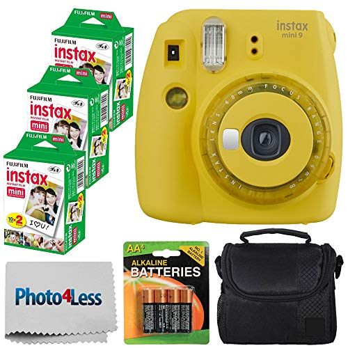 Fujifilm instax Mini 9 Instant Film Camera - Fujifilm Instax Mini Film (60 Shots) + Compact Camera Case + 4 AA Batteries + Photo4Less Cleaning Cloth - Accessory Bundle (Film Bundle, Yellow) (Yellow Polaroid Camera With Film)