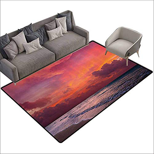 Floor Mat Kitchen Long Carpet Balinese Decor Collection,Calm Ocean Shoreline on Tropical Sunrise Bali Indonesia Wavy Sunbeams Scenic,Blue Orange 48