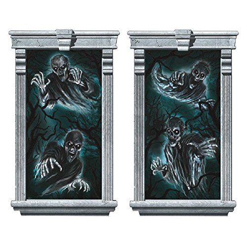 Amscan Creepy Cemetery Halloween Party Floating Creatures Window Stick (2 Piece), Black, 65