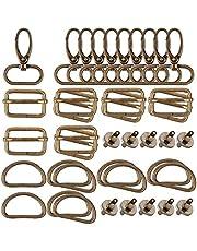 Fransande 40 stuks D-ringen 25 mm voor spuitmonden, magneetknoppen, draaisluitingen, drie naaizakken met schuifsluiting (brons)