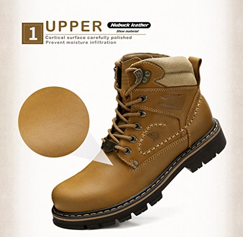 newest online Camel Mens Work Boots Round Toe Leather Insulated Construction Non-Slip Work Shoes High Top Work Safety Shoes Martin Boots Khaki clearance pre order cheap sale buy gpG1rEpS