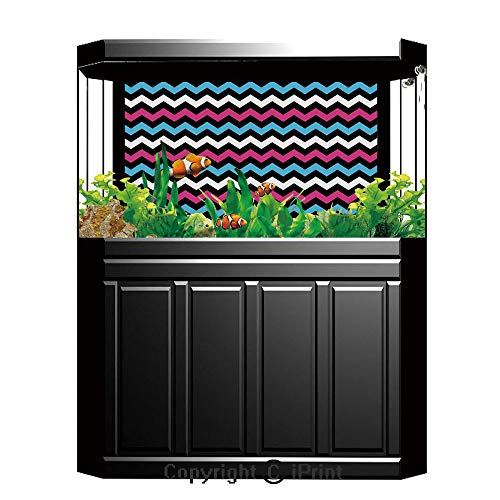 Terrarium Fish Tank Background,Modern,Colorful Zigzag Twisty Bands Winding Abstract Chevron Tiles Geometric Print,Pink Sky Blue Black,Photography Backdrop for Pictures Party Decoration,W48.03