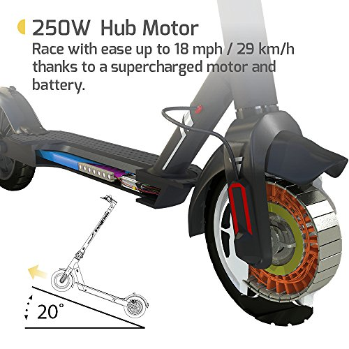 "SWAGTRON City Commuter Electric Scooter, 18mph on 8.5"" Run Flat Cushioned Tires, Cruise Control, Phone Mount, APP Controlled, Foldable, Portable - Swagger 5 Elite Official Ride of The Chicago Cubs"