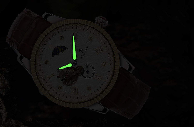 Herrklockor, klassisk automatisk mekanisk klocka, sol, mån, stjärna, ihålig, vattentät, modeklocka Black Shell With Black Shell