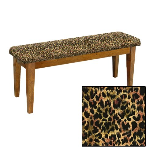 Shaker Design - Oak Dining Bench with a Padded Seat Cushion Featuring Your Choice of an Animal Print Fabric Covered Seat Cushion (Cheetah Small Cotton) (Small Dining Room For Banquette Seating)