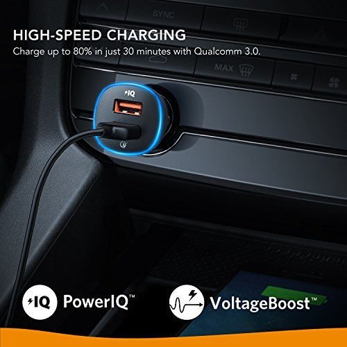 Roav by Anker SmartCharge Spectrum 30W Car Charger with Quick Charge 3.0, for iPhone X/8/7/6s/Plus, iPad Pro/Air 2/Mini, Galaxy S8+/S8/S7/S6/Edge/Plus, Note 8/5/4, LG, Nexus, HTC and More