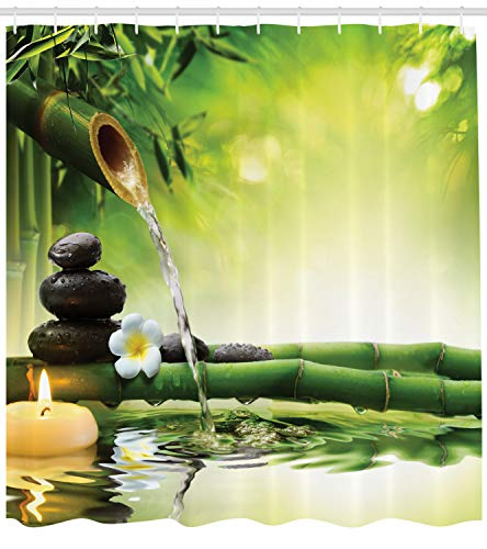 """Ambesonne Spa Shower Curtain, Meditation and Picture of Bamboo Stalks Candle and Basalt Stones Theraphy Relaxing, Cloth Fabric Bathroom Decor Set with Hooks, 70"""" Long, Green Yellow from Ambesonne"""