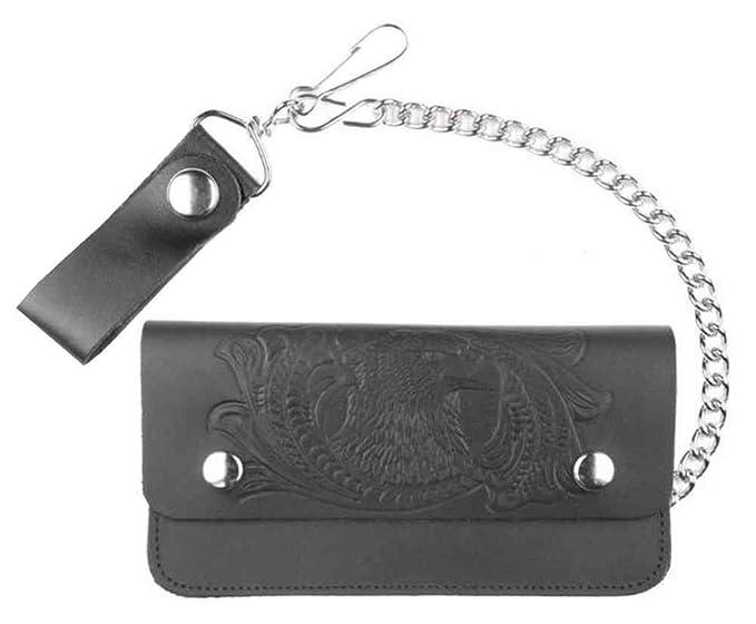 35dd79da78f5 Genuine Leather Men's Embossed Eagle 8 in Trucker Chain Wallet ...